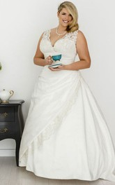 Plunged Lace Satin Sleeveless plus size Gown With Side Draping And Corset Back