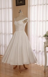 Button-Back Satin Sleeveless V-Neckline Bridal 3-4-Length Dress