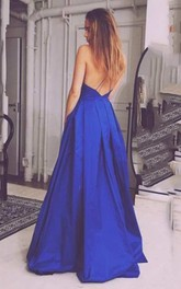 A-line Floor-length V-neck Sleeveless Satin Dress with Pleats