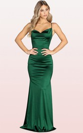Cowl Satin Sleeveless Mermaid Evening Dress With Pockets and Split Front