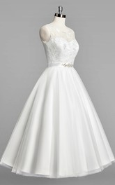 Tulle Beaded Satin Sash Sleeveless Scoop-Neckline Wedding Gown