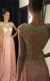Scoop-neck Cap-sleeve Beaded Jersey Prom Dress With Illusion back