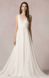 sleeveless Chiffon long Dress With Deep-v-neck And Lace