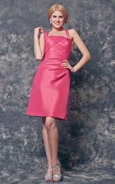 Feminine Ruched Sleeveless Short Satin Dress