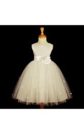 Rosebud Satin Bow Belt Jewel-Neck Sleeveless Dress
