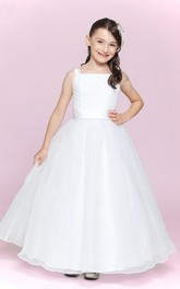 Princess Satin Sash Organza Bateau-Neckline Flower Girl Dress