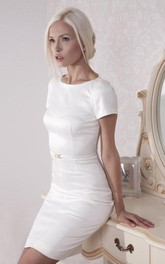Satin Short Sleeves Fitted Jewel-Neckline Gown
