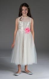 3-4-Length Waist Floral Lining Sequin Flower Girl Dress