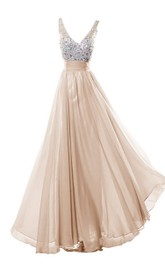 Long Rhinestone Bodice V-Neckline Sleeveless Dress
