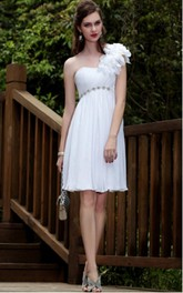 White Sheath Knee-length One Shoulder Dress