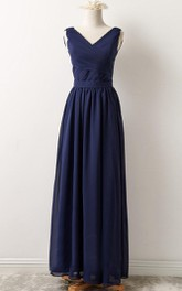 Sleeveless Chiffon Long Bridesmaid Dress With Low-V Back