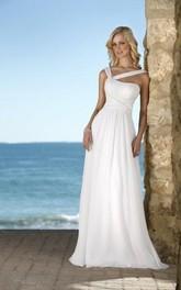 V-Neckline Wedding Column Hot-Selling Chiffon Gown