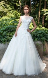 Bateau-Neck Appliqued Tulle Flower Ball-Gown Princess Deep-V-Back Dress