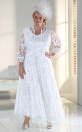 Satin Appliqued Ankle-Length A-Line Zipper Dress