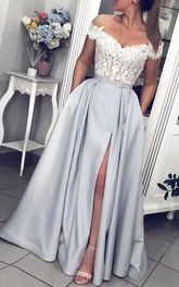 A Line Sleeveless Satin Lace Modern Formal Dress with Ruffles and Ribbon