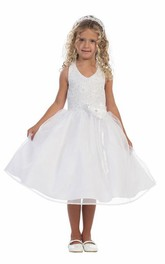 Jeweled Organza Tea-Length Floral Lace Flower Girl Dress