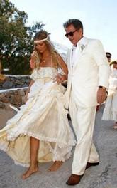 A-Line Chiffon Vintage Sleeveless Spaghetti Straps Cross Back Beach Wedding Dress