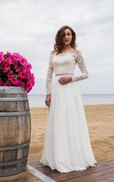 Sheer-Back Chiffon Skirt Long-Sleeve Off-Shoulder Dress