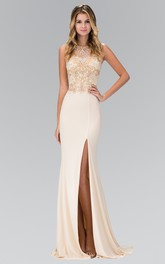 Column Jeweled Split Front Long Bateau Jersey Sleeveless Illusion Dress