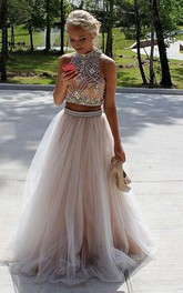High Neck Tulle Sleeveless Floor-length Beading Pleats Dress