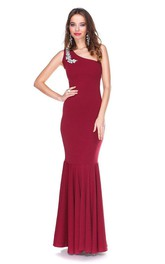 Mermaid Rhinestone Single-Shoulder Hot Gown