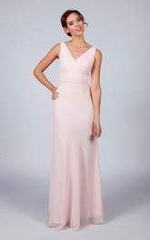 Sleeveless V-neck Sheath Dress With Low-V Back