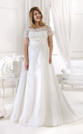 Bateau Short Sleeve A-line Lace plus size wedding dress