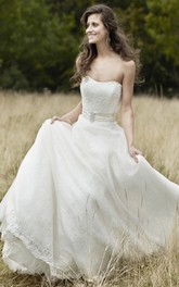 flowy Strapless A-line Lace Wedding Dress