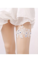 European Style Navy Sequin Flower Lace Elastic Garters Within 16-23inch
