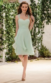 Chiffon strapped Knee-length Bridesmaid Dress With Lace