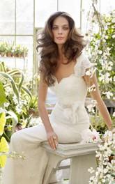 Lace Floral Applique Cap-Sleeve Graceful Dress