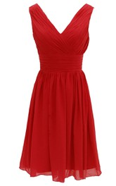 Chiffon Basque Waist V-Neck Elegant Dress