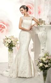 Cap-Sleeve Appliqued Long Fishtail Lace Gown