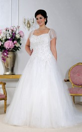 Tulle Satin Beaded A-line Ball Gown With Court Train And Corset Back