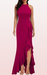 Casual Halter Jersey Sheath Sleeveless Evening Dress With Ruffles and Split Front