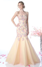 Multi-Color Backless Floral Appliqued Trumpet Full-Length Strapless Sweetheart Sleeveless Dress