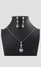 Elegant Water Drop Design Rhinestone Necklace and Earrings Jewelry Set