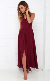 Chiffon Long Simple Sleeveless Dress With Front Split