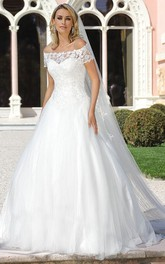 Off-the-shoulder Short Sleeve A-line Ball Gown With Lace Appliques