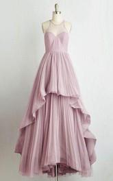 Halter Chiffon Floor-Length Long Layers Sleeveless Dress