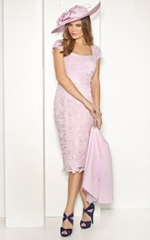 Pencil Knee-length Bateau 3-4-sleeve Mother of the Bride Dress