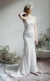 Asymmetrical Simple Mermaid Bridal Gown With Spaghetti Straps And Open Back