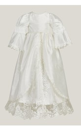 Simple Bell Sleeve Christening Gown With Front Split