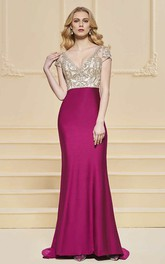 Sexy Illusion Plunging Sheath Satin Two Tune Gown With Beading