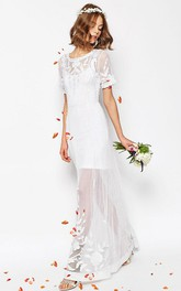 Sheath Short-Sleeve Scoop-Neck Long Tulle Wedding Dress With Embroidery And V Back