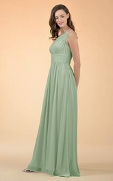 Simple A Line Chiffon One-shoulder Floor-length Bridesmaid Dress With Ruching