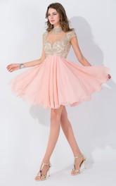 Chiffon Appliqued Beaded High-Neckline Modern Dress