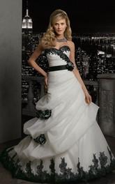 Sleeveless Lace Pick Up Long A-Line Organza Dress