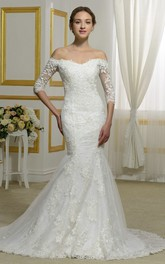 Elegant Off-the-shoulder 3/4 Sleeve Lace Mermaid Bridal Gown With Illusion Button Back