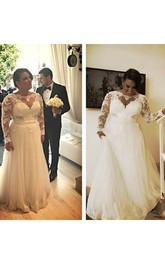 Bateau Lace Illusion Long Sleeve Wedding Gown